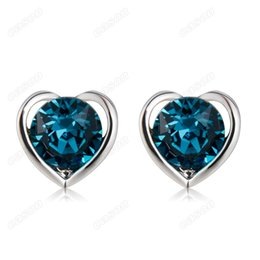 heart shape studs Canada - Brand New Cason Women fashion jewelry Rodium plated Heart Shaped Stud Earrings Blue colour drop shipping EJ-0023