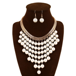 diamond big necklace jewelry set NZ - Fashion Women Necklace Earrings Jewelry Sets Crystal Gold Silver Plated Big Simulated Pearl Wedding Party Jewelry Sets For Women