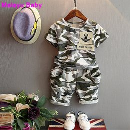 Chinese  children fashion summer baby boys clothing sets 2pcs camouflage sport suit clothes sets boys girls set 2-7Y manufacturers