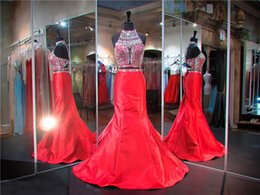 $enCountryForm.capitalKeyWord NZ - Red Haltered Mermaid Two Piece Prom Dress Hand Beading Top Sexy Satin Evening Dresses Trumpet Pageant Dresses