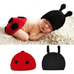Discount ladybird ladybug - Baby Newborn Photography Props Accessories Fotografia Cute Ladybug Knitted Handmade Crochet Ladybird Photo Props Baby Ha