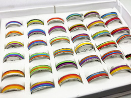 $enCountryForm.capitalKeyWord Canada - wholesale mix lots 36pcs multilayer colorful rubber band large sizes stainless steel fashion rings brand new