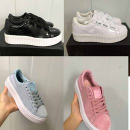 167bda117e7 2017 Rihanna x Suede Women And Mens Rihannas Shoes Sneakers Creeper Camo  Black Gold Tiple White Running Shoes free shipping affordable free creepers  shoes