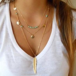 Turquoise Feather Pendant NZ - 10Pcs Lot Summer Style Jewelry Fashion Women's Multi Layered Necklace Feather Round Sequins Charm Pendant Turquoise Necklace Gold Silver