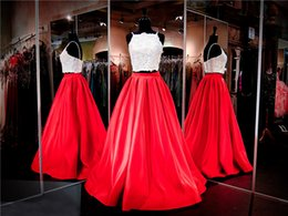 Dessus De Cire De Spaghetti En Dentelle Pas Cher-Red Satin long Two Piece Ivoire Dentelle Crop Top bretelles spaghetti robe de bal Hot Fix Rhinestone Top robe de soirée Pageant Dress