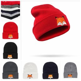 Zorros Animales Beanies Baratos-Fox Boys Girls Sombreros de punto de invierno Infant Toddler Fox Sombreros Cartoon Fox Caps Sombreros de lana infantil Gorros de invierno para niños a prueba de viento