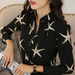 Discount starfish lighting - Freeship wine white black light blue starfish printing casual women ladies blousers office fashion shirt work Blouses &S