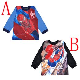 Barato Camiseta De Criança Aranha-Venda Por Atacado Spiderman Boy's Shirt 2016 Hot Sale T-shirt de manga comprida Cartoon Spider-man impressão Kids Vestuário Spider Man Baby Girls Roupa