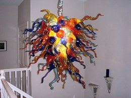 $enCountryForm.capitalKeyWord Australia - 100% Handmade Blown Glass Chandelier Home Decorations Multi Color Modern Art Designed LED Light Source Hanging Pendant Lamps