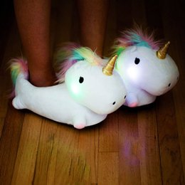 $enCountryForm.capitalKeyWord UK - 28 31cm 1pair LED Night Glowing Home Slipper Creative Luminous Unicorn Slipper Lovely Gifts for Kids and Friends Christmas Gifts