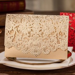 Embossed Flowers Invitation Canada - Classic Gold Champagne Shiny Hollow Embossed Flowers Wedding Invitations Cards, By Wishmade, CW072