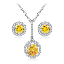 China Hot Sale Items Combining a Bridal Jewelry Sets for Women Yellow Round Zircon Necklace Earrings Stud Set for Party OS76 supplier indian hot items suppliers