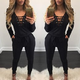 Barato Bodysuits Grossistas Para Mulheres-Atacado- Mulheres Deep V Neck Front Cross Bodycon Jumpsuit Tie Rompers Womens Jumpsuit Bodysuits de manga comprida