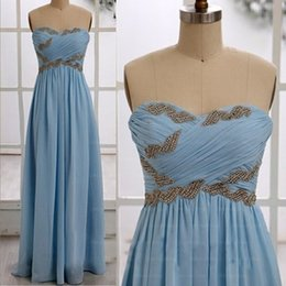 Barato Chiffon Ruched Sweetheart Vestido-2016 azul smple Vestidos de baile Querida Beaded Ruffle plissados ​​Ruched Varrer Vestidos Vendas Evening Train Chiffon Hot