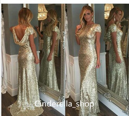 Robes De Mariée À Bas Prix Pas Cher-Modest Sliver Sequined Wedding Guest Dress 2017 Bling Bling Sweep Train Wrap Long Mermaid Robes de mariée Custom Cheap Maid Of Honor Gowns
