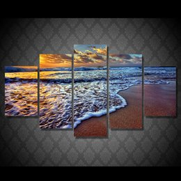 original seascape oil painting NZ - 5 Pcs Set HD Printed seascape sunset sea beach Painting Canvas Print room decor print poster picture canvas original abstract art