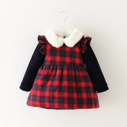 Barato Moda Meninas Coreano Meninas-Everweekend Kids Girls Plaid Ruffles Vestido de inverno Vintage Korea Sweet Fashion Party Dress Lovely Toddler Baby Clothing