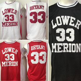 3399a5e64d19 ... Men Lower Merion High School white red black 33 Kobe Bryant college  jerseys adult size stitched ...