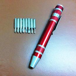 Mini Set Screws Canada - 8 in 1 Aluminum Precision Screwdriver Set Pen Style Mini Torx Slotted Screw Driver Portable Multi-Tool For For Phone