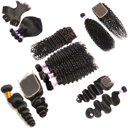 Vente en gros 8A Péruvienne Vague Profonde 3 Faisceaux avec Dentelle Fermeture Frontale Brésilienne Afro Crépus Bouclés Corps Lâche Vague Droite Weave Extensions de Cheveux Humains