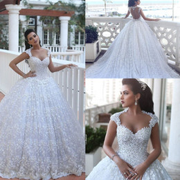 Muslim Wed Gown Cap Canada - 2018 New Arabic Ball Gown Wedding Dresses Sweetheart Full Lace Beads Bling Cap Sleeves Court Train Backless Plus Size Formal Bridal Gowns