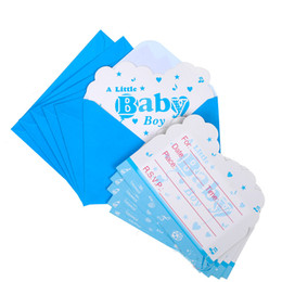 Pack Supplies Australia - Wholesale- 6pcs pack Little baby boy Happy Birthday Party Decoration Kids boy girl event Supplies Favors Invitation Cards