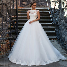 See Through Wedding Dress Crystal Beading Canada - See Through Short White Tulle Lace Wedding Dress Ball Gowns Beading Sash Bandage vestido de novia vintage Bridal Gowns