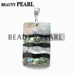 Pendant Rectangle Stone NZ - Silver Plated Rectangle Paua Abalone Shell Big Pendant with Bead Necklace Chain Natural Abalone Shell Stone Unique Jewelry