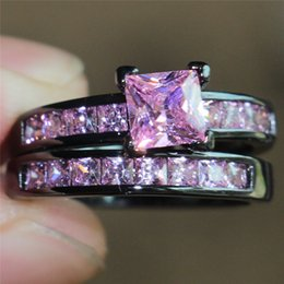 Fashion Precious Princess Cut Simulated Pink Diamond 10KT Black Gold Engagement Wedding Band Ring Set For Women Size 5 10