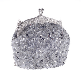Sacs À Main En Soirée Argent Pas Cher-Handmade Heavy Sequin Beaded Sac à main nuptiale Lady Wedding Prom Cocktail Party Evening Clutch Handbag Argent Noir Rouge Or Vert Champagne