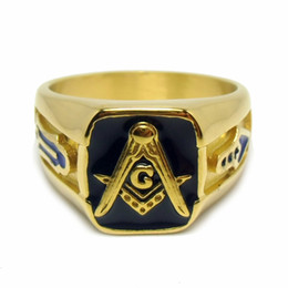 $enCountryForm.capitalKeyWord Canada - wholesale Stainless Steel Antique Black Blue Lodge Enamel masonic mason symbol emblem Rings for Men