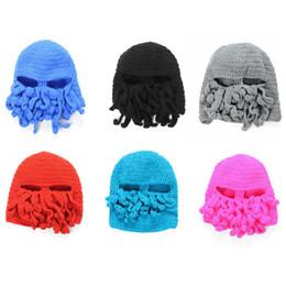 Novelty Handmade Knitting Wool Funny Beard Octopus Hats Caps Crochet Knight  Beanies Ski Face Mask Knit Hat Halloween Gift 82cf9a9c27f