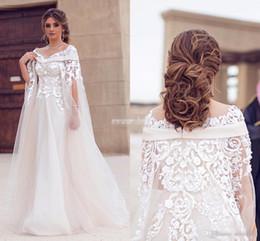 Discount watteau plus size wedding dresses - 2017 New Saudi Arabic Dubai Wedding Dresses Lace Appliques Sheer Jewel Neck Plus Size Robe De Soiree Long Bridal Gowns