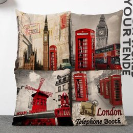 $enCountryForm.capitalKeyWord Canada - 45cm Retro London Big Ben Cotton Linen Fabric Waist Pillow 18inch Fashion New Home Gift Coffeehouse Decoration Sofa Car Cushion