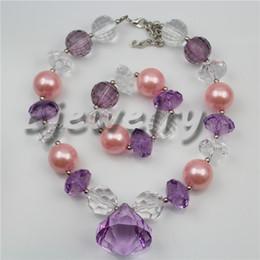 $enCountryForm.capitalKeyWord Canada - fashion jewelry purple waterdrop pendant pink pearl&acrylic beads chunky bubblegum necklace&bracelet set CB743