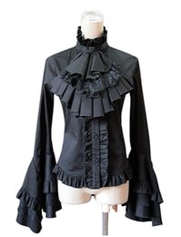 $enCountryForm.capitalKeyWord UK - 2016 Autumn Lolita Collar Dress Gothic Ruffles With Self-Cultivation Shirt,Elegant Lace Sleeve Blouses & Shirts For Women