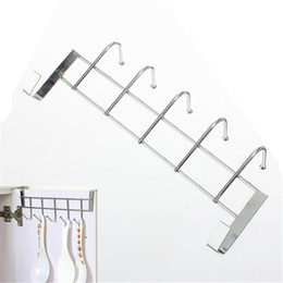 wholesale coat hooks stainless steel Canada - Wholesale-5 Hooks Stainless Steel Over Door Home Bathroom Kitchen Coat Towel Loop Hanger Rack Holder Shelf High-Grade