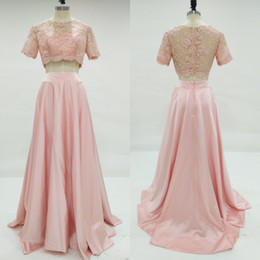 Barato Barato Pêssego Curto Vestidos-New Fashion 2017 Real Photo Peach Duas Peças Prom Dresses Longa baratos Lace Short Sleeve Ruched Formal Party Gown Custom Made EN8233