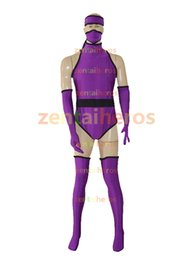 Spandex Surhéros Personnalisé Pas Cher-Custom Purple Ninja Superhero Halloween Cosplay Party Zentai Suit
