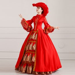 Chinese  Free Shipping 2016 Royal Deep Red Floral Print Victorian Ball Gowns Hand made Marie Antoinette Costume For Women manufacturers