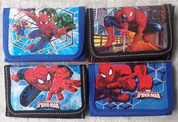 spiderman coins NZ - Free Shipping 12 pcs lot!!! Spiderman boy's Purse coin Wallet bags w zip new