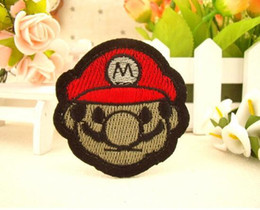 Barato Mario Applique-2.1 polegadas venda quente! KIDS Atacado SUPER MARIO Irmão bordado em patchwork Applique emblema costurar no remendo Applique GP-030