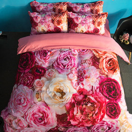 $enCountryForm.capitalKeyWord Canada - Hot Comfortable Beautiful Flower Printing Bedding Set Twin Full Queen King Size Fabric Cotton Bedclothes Duvet Covers Pillow Shams Comforter