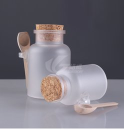 Personal decal online shopping - 100g g Bath Salt ABS Bottle and Powder Plastic Bottle with Cork Jar with Wood Spoon