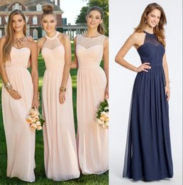 Barato Estilos De Vestido Conversível-2017 barato Long Chiffon País Bridesmaid Vestidos Pink Lace Convertible estilo Junior Dama de honra Mixed Style Beach Wedding Party Dresses