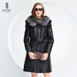 Barato Capas De Couro-Atacado- BASIC-EDITIONS New Winter Women Faux Leather Clothing Fox Fur Hood Collar Slim Feminino Jacket Quilting Cotton Coat - D13058