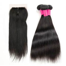 closure 14 inch straight 2019 - 3 Hair Bundles With 1Top Lace Closure 100% Unprocessed Remy Human Hair Weave And Closure Brazilian Peruvian Straight Vir