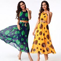 $enCountryForm.capitalKeyWord Canada - Good Selling Ladies Women Casual Fashion Polka Dot Chiffon Bohemian Beach Dress with Belt Clothes 2302