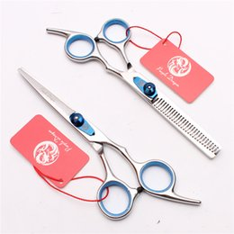"professional cut hair salon 2019 - 6'' 440C Blue Screw Laser Wire Professional Human Hair Scissors Cutting or Thinning Barber""s Hairdressing"