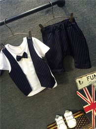 Harem Pants Cotton Blended For Boys Canada - New Summer Style Baby Boy gentleman Clothes striped fake piece Bow Tie harem Pant Formal Party baby boy clothing set for weddings